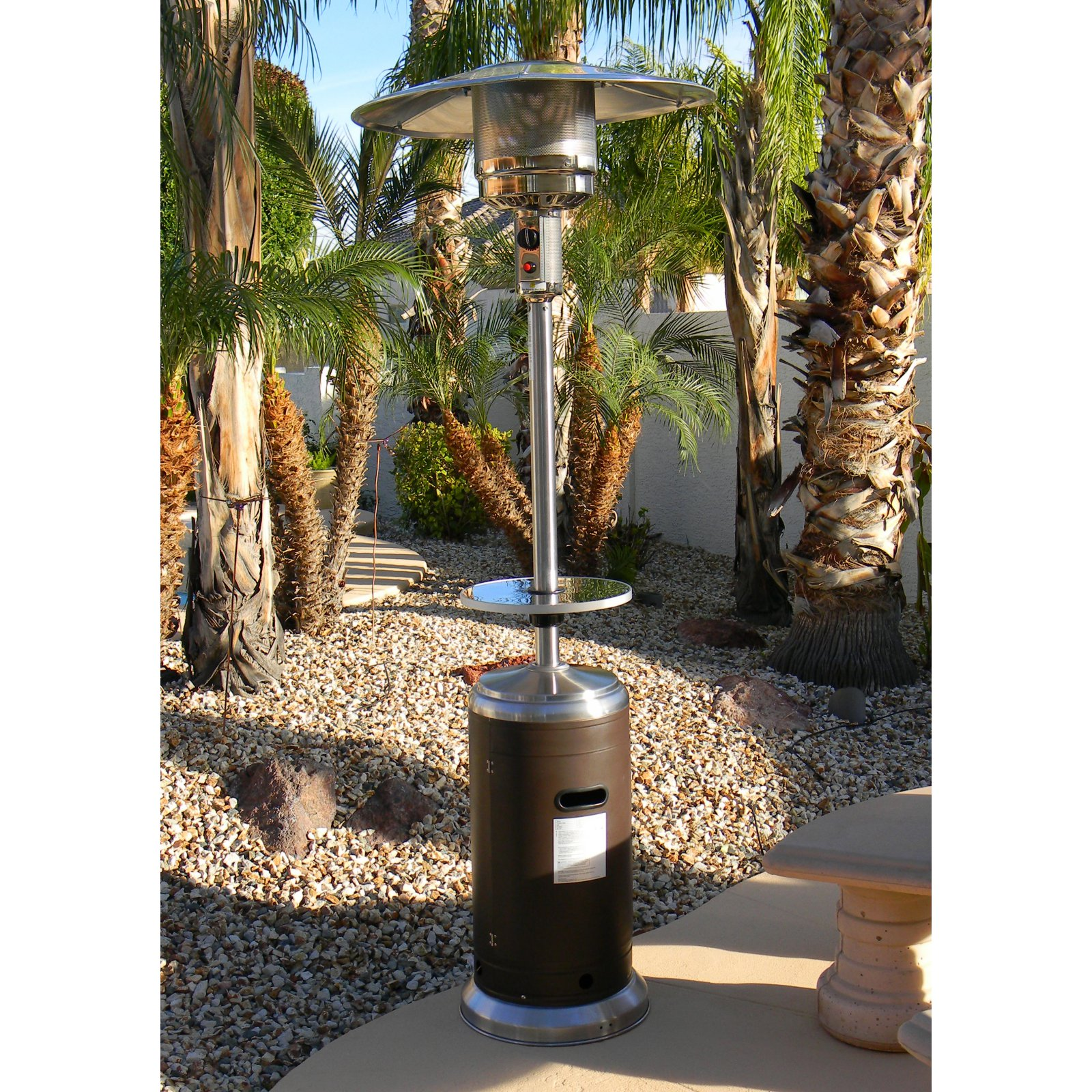 Hiland Tall Stainless Steel and Hammered Bronze Patio Heater with Table