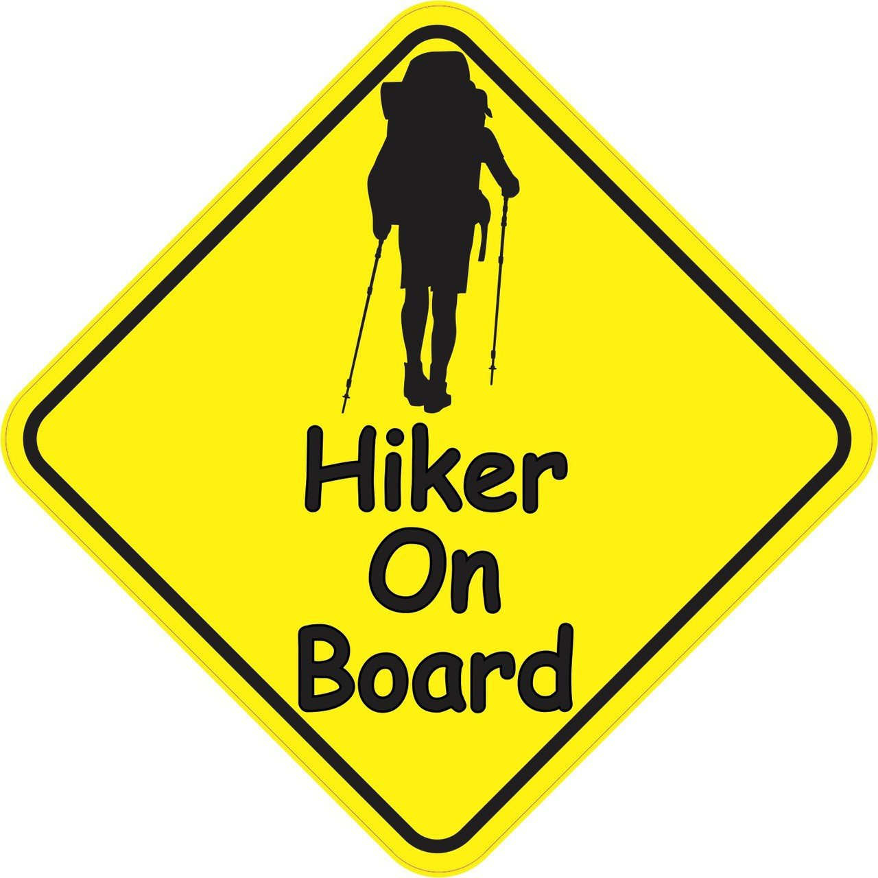5in x 5in Hiker On Board Magnet Vinyl Caution Sign Vehicle Bumper Magnets