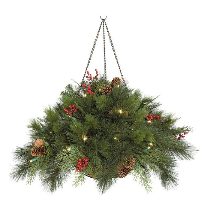 Autograph Foliages C-100278 15 in. Hanging PVC Pine Basket