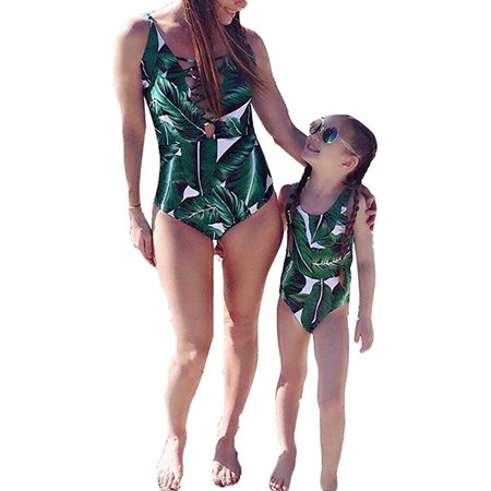 980816237c348 CHRONSTYLE - Mommy and Me Swimsuit Family Matching Mother Daughter Leaves  Print Swimwear Bathing Suit - Walmart.com