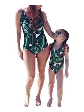 7bc41ffdde Product Image Mommy and Me Swimsuit Family Matching Mother Daughter Leaves  Print Swimwear Bathing Suit
