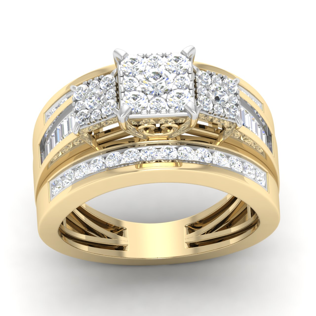 10K Yellow Gold 1 Ct Round Cut Diamond Three Stone Frame Cluster Engagement Ring I2