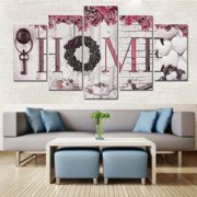 SUPERHOMUSE 5Pcs DIY Painting Home Letter Prints Wall Art Picture Canvas Photo Painting for Home Room Wedding Decoration
