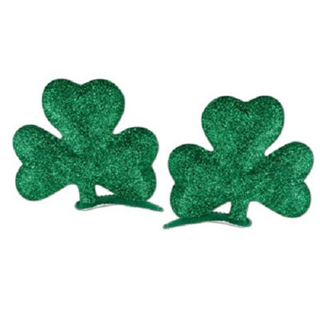 Glittered Shamrock Hair Clips (2/Pkg), Green, One-Size
