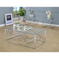 Furniture Of America Rosemeade 3 Piece Glass Top Coffee Table Set