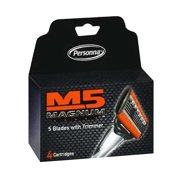 M5 Magnum Razor cartridge Blades with Trimmer, 4 Count Refill Blades, 6 Pack