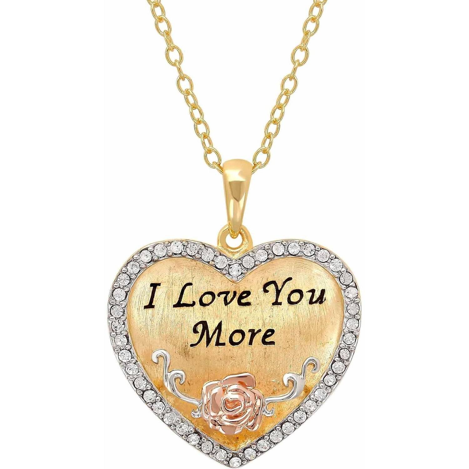 "Sterling Silver and 18K Gold Plate Crystal Border ""I Love You More"" Heart Pendant, 18"""