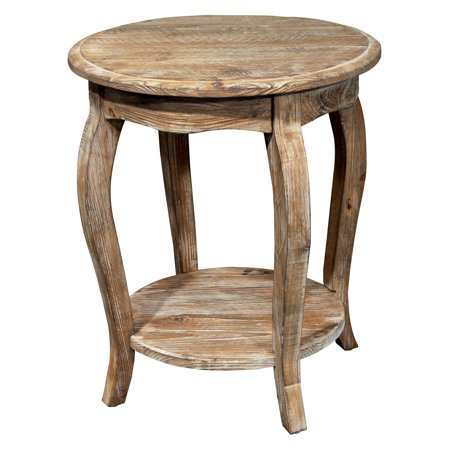 Rustic Reclaimed Round End Table, Driftwood - Decorator Round Table