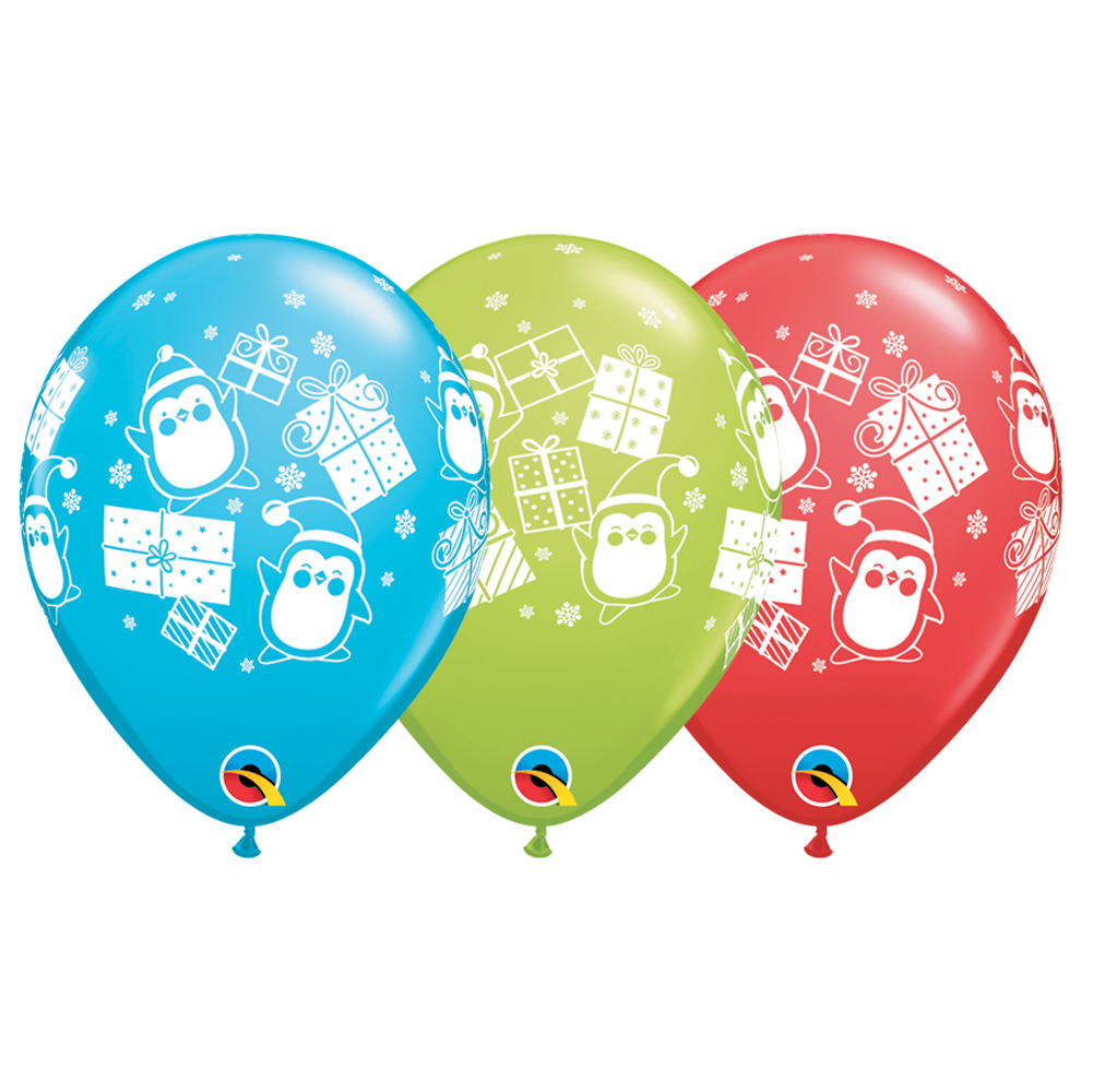 "Qualatex Christmas Presents & Penguins 11"" Latex Balloons, Red Blue Green, 24 CT"