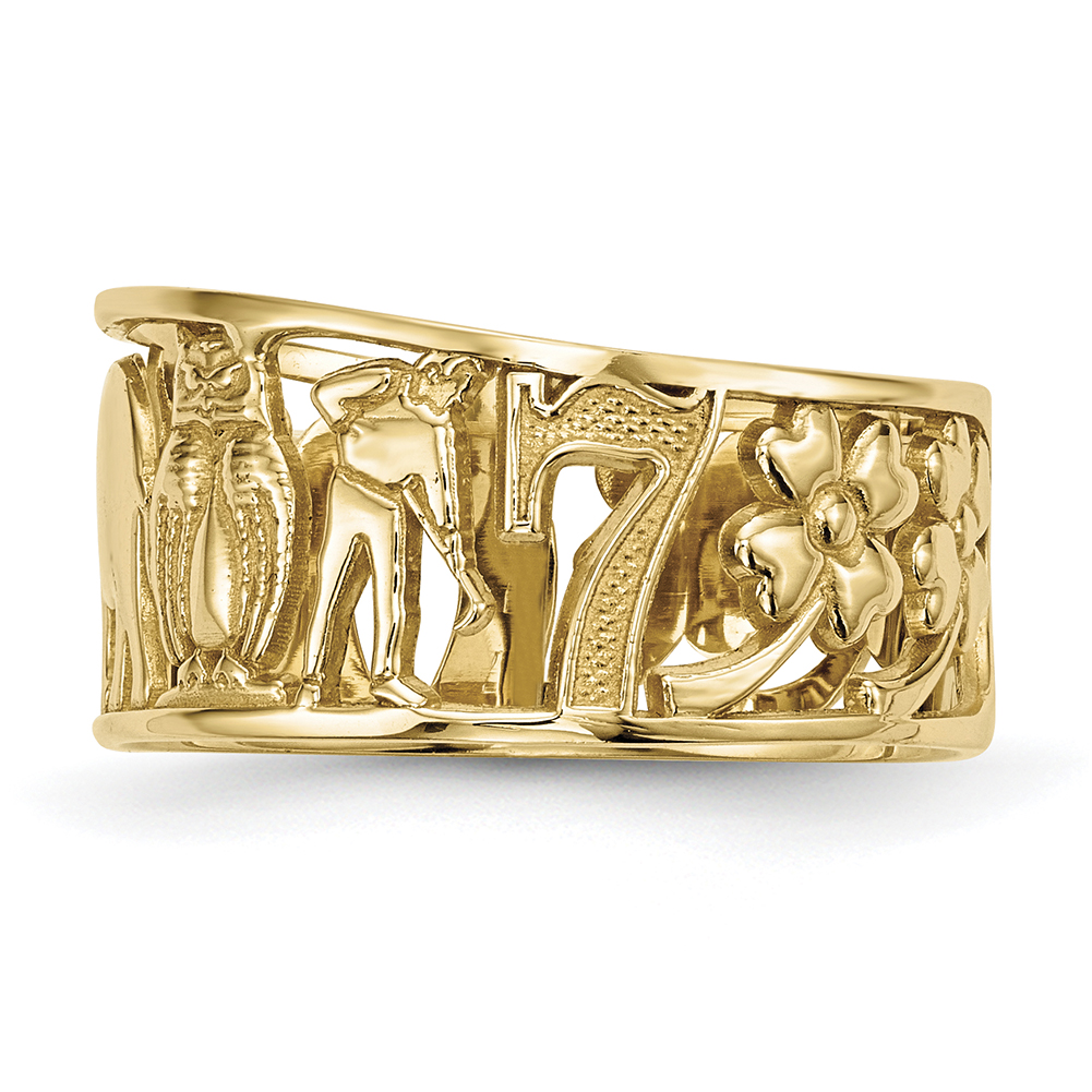 Lex & Lu 14k Yellow Gold Lucky Symbols Cut Out 9mm Band Ring Size 8 by