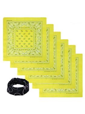 Basico 100% Cotton Head Wrap Bandanas 6 Pack with Tube Face Mask/Headband