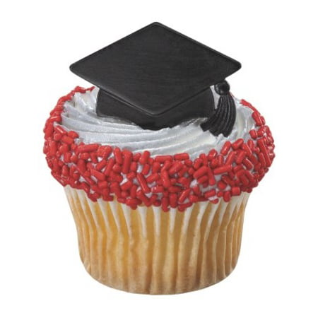 24pack Black Grad Cap Cupcake / Desert / Food Decoration Topper Rings with Favor Stickers & Sparkle - Whole Foods Halloween Cupcakes