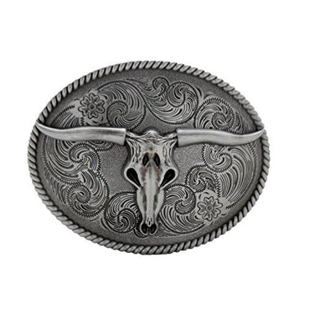 Mens Dark Grey Antique Silver Finish Bull Skull Belt Buckle Cowboy Western Texas Cowboy