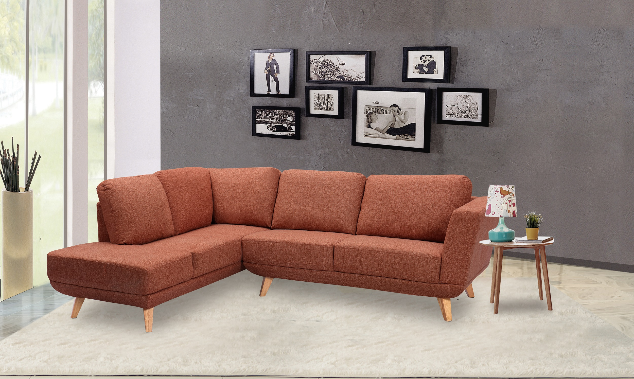 Contemporary Modern Comfort 2pc Sectional Sofa Orange Fabric Living Room  Furniture Sofa Chaise Cushion Couch