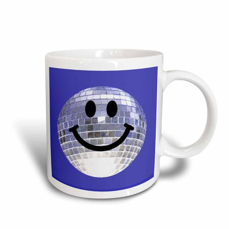 3dRose Silver Disco Ball Smiley Face - seventies 70s style Discoball Dance hall diva - on Blue background, Ceramic Mug, 11-ounce](70s Disco Dances)