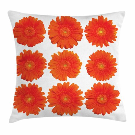 Orange Throw Pillow Cushion Cover, Collection of Orange Gerberas Botanical Bouquet Seasonal Growth Garden Spring Theme, Decorative Square Accent Pillow Case, 20 X 20 Inches, Orange, by Ambesonne