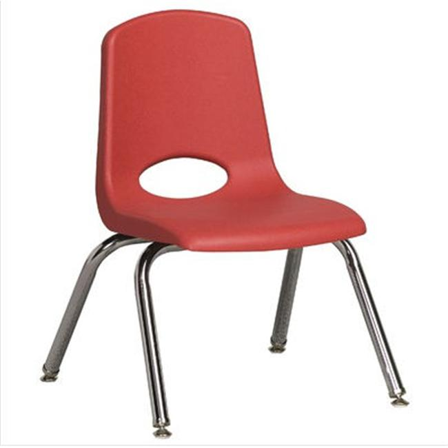 Early Childhood Resource ELR-0193-RDG 12 inch School Stack Chair with Chrome Swivell l Glide Legs - Red