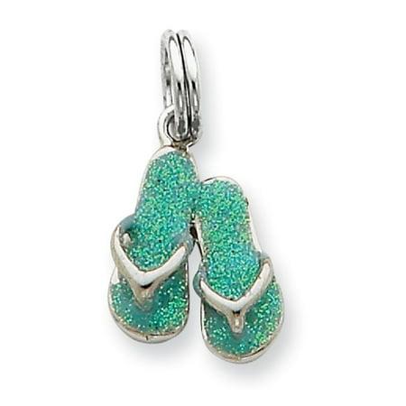 Sterling Silver Flip Flop Charm - Sterling Silver Green Enamel Flip Flops Charm