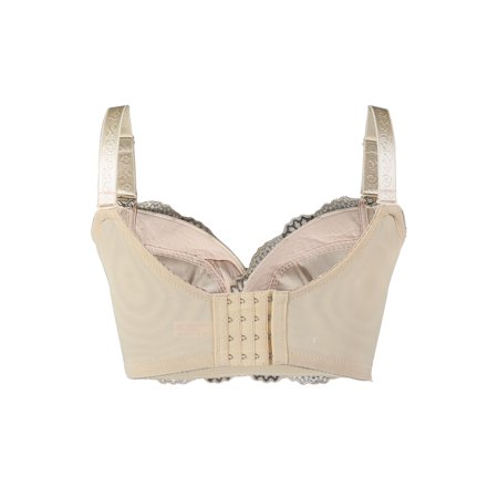 Women Floral Lace Front Scalloped Push Up Thin Cup Wireless Bra Beige 85E - image 1 of 5