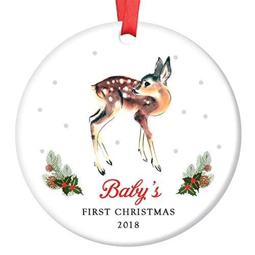 "Fawn Baby's First Christmas Ornament 2018, Baby Deer Doe Porcelain Ceramic Ornament, 3"" Flat Circle Classic Christmas Ornament with Glossy Glaze, Red Ribbon & Free Gift Box 