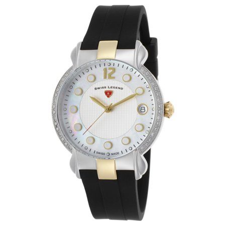 16591Sm-Sg-02 Layla Diamond Black Silicone White And Mop Dial Ss Gold-Tone Accents - Womens Black Mop Dial