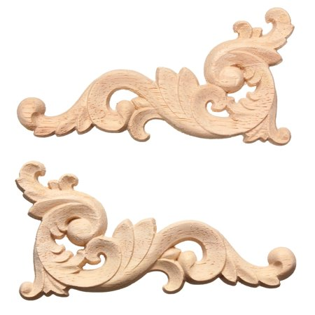 12x6cm Wood Carved Decal Corner Onlay Applique Frame Door Wall Cabinets Furniture Home Decor Unpainted (New Exotic Carved Wood)