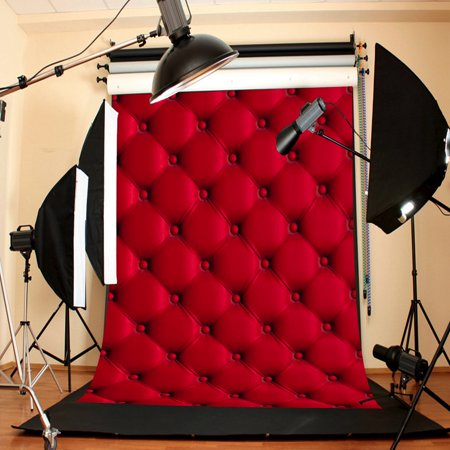 3D 5x7FT Vinyl Valentine's Day Red Wall Photography Background Backdrop For Studio Photo Prop ()