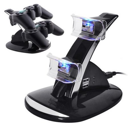 Ps3 Stand - Insten Dual USB Charging Charger Dock Station Stand for PS3 Sony Playstation 3 PS 3 Wireless Remote Controller LED light Docking Power Stand Cradle (with extra 2 USB Ports)
