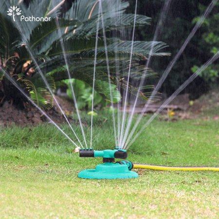 Sprinkler (Newly Upgraded) Pathonor Lawn Sprinklers Yard Sprinklers Water Sprinkler System Weighted Base with 2 Ways Hose Splitters Adjustable Garden Sprinkler for Kids
