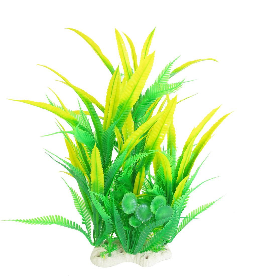 Unique Bargains Aquarium Fish Tank Artificial Water Grass Plant Decor 36cm High Green Yellow