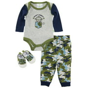 Duck Goose Baby Boys Camo Mighty Monkey Bodysuit Sneakers 3Pc Pant Set