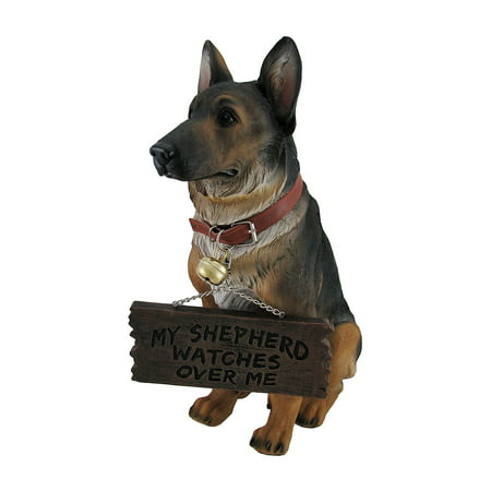 I Don't Dial 911 German Shepherd Guard Dog Warning Statue (Shepherd Statue)