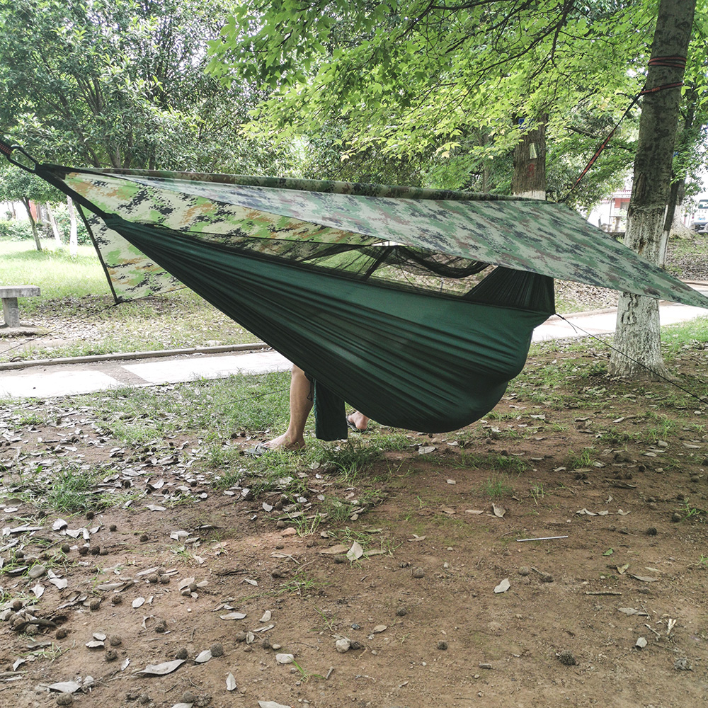 Anti-Mosquito Swing Sleeping Hammock Bed TOPCHANCES Upgrade Ultralight Portable Nylon Camping Hammock Mosquito Net with Rain Fly Tent Tarp for Outdoor Windproof