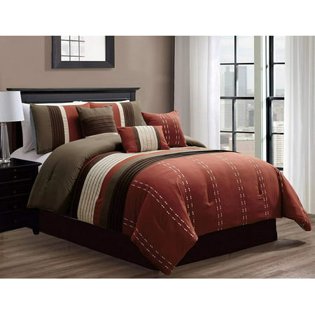 7 Piece Comforter Set Luxury Stripped Bedding Set, Cal King, Spice