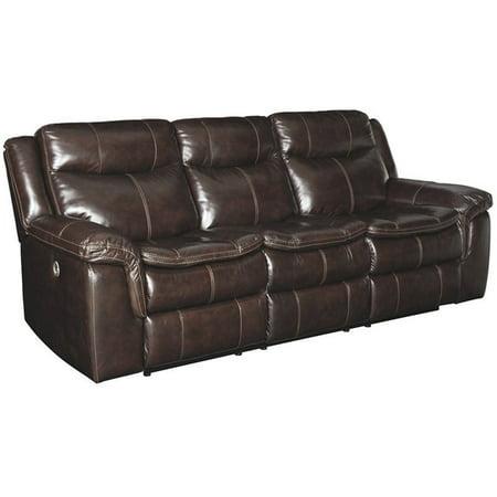 Ashley Furniture Lockesburg Leather Power Reclining Sofa in Canyon Burgundy Leather Reclining Sofa