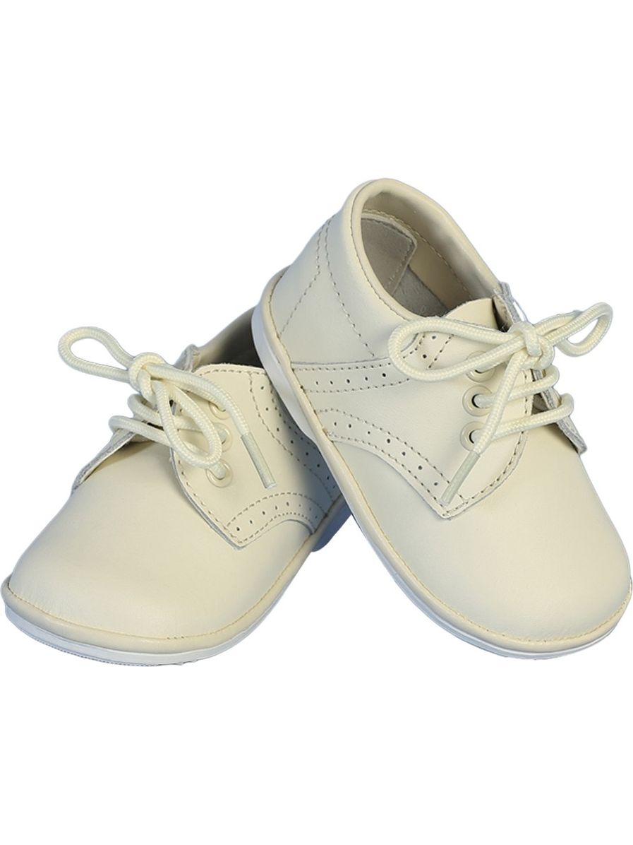 Angels Garment Boys Ivory Stitch Leather Christening Shoes