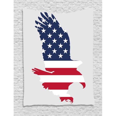 Eagle Tapestry, Stars and Stripes on a Bald Eagle American Way of Life Bird Symbol, Wall Hanging for Bedroom Living Room Dorm Decor, 40W X 60L Inches, Navy Blue Dark Coral Beige, by Ambesonne
