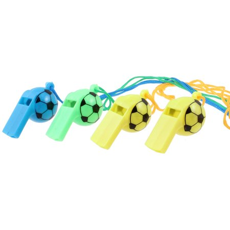 4 Pcs Outdoor Game Neck Lanyard Color Football Shaped - Football Whistles