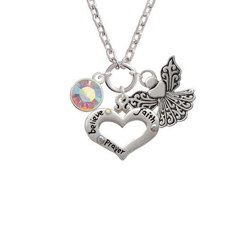 10mm Clear AB Oktant Crystal Drop Believe Faith Prayer Heart and Angel Zoe Necklace