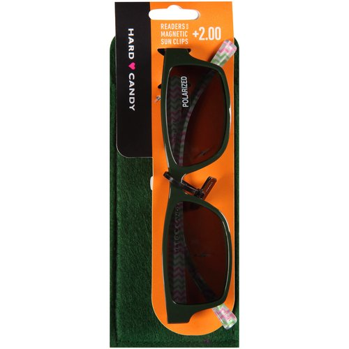 Hard Candy Readers with Magnetic Sun Clips, Go Getter -- Green, 3 count