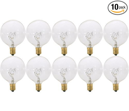 pack of 10 40 watt clear g165 decorative e12 candelabra
