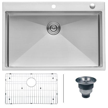 Tight Radius (Ruvati 33 x 22 inch Drop-in Tight Radius 16 Gauge Stainless Steel Topmount Kitchen Sink Single Bowl - RVH8005)