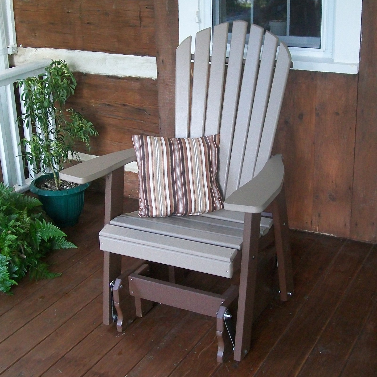 A & L Recycled Plastic Two-Tone Adirondack Gliding Chair