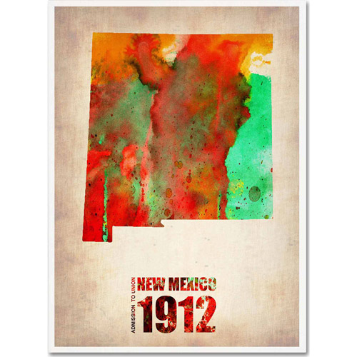 "Trademark Fine Art ""New Mexico Watercolor Map"" Canvas Art by Naxart"