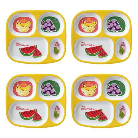 Mainstays Kids 4-Pack Melamine Divided Plate, Multiple Prints Divided Storage Plate Set