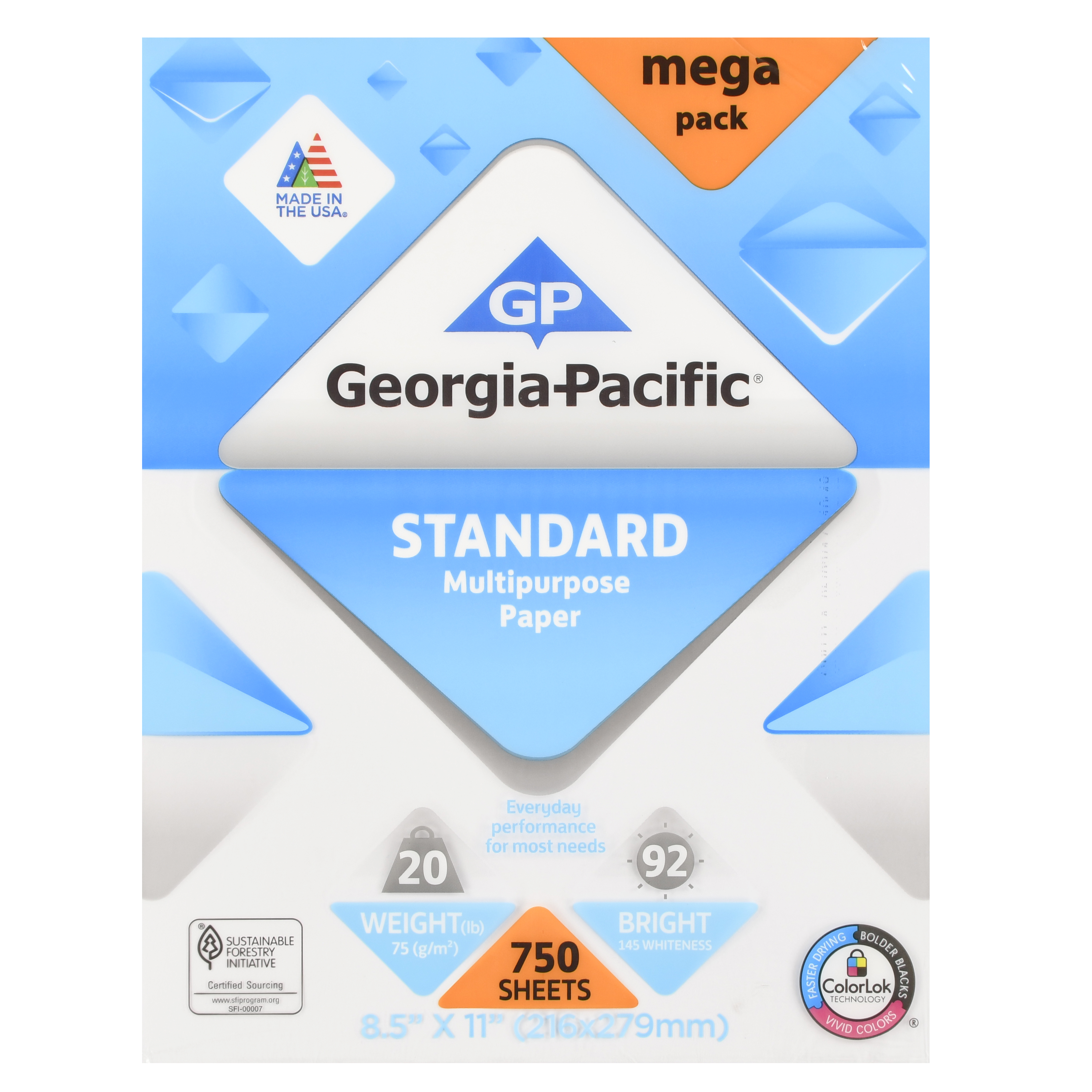 "Georgia-Pacific Standard Multipurpose Paper, 8.5"" x 11"", 20 lb, 92 Brightness, 750 Sheets"