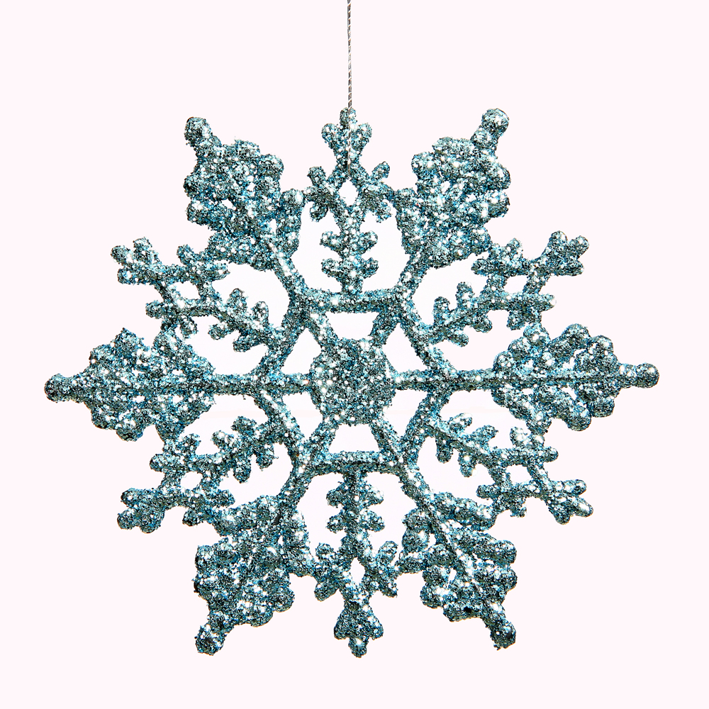 Club Pack of 24 Baby Blue Glitter Snowflake Christmas Ornaments 4""