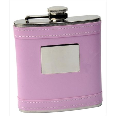 FJX Wholesale HFL-W006EPB 6oz Pink Faux Leather Rectangle Stainless Steel Hip Flask - Punk Wholesale