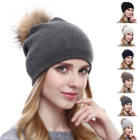 Fashion Womens Winter Warm Cashmere Hat Beanies Crochet Hat Pompon Multicolor