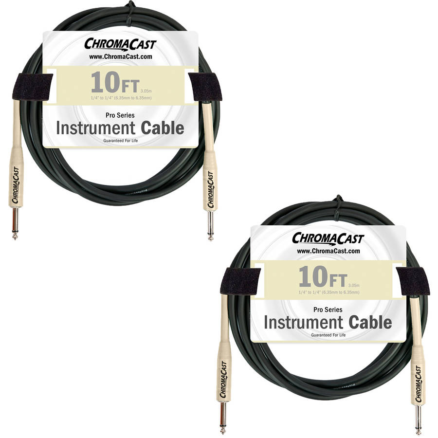ChromaCast Pro Series Vanilla Cream 10' Instrument Cable 2 Pack, Straight-Straight by Generic